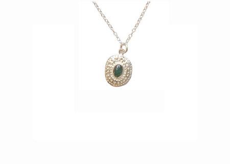 Bauxo Jordan Silver Necklace with Green Agate