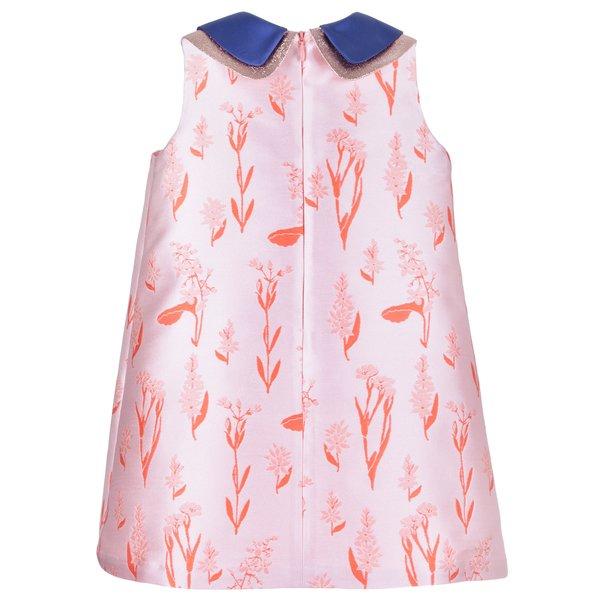 kids hucklebones double collar shift dress - rose/coral