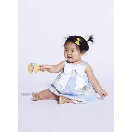 kids hucklebones giant bow trapeze dress with bloomers - powder blue/daffodil