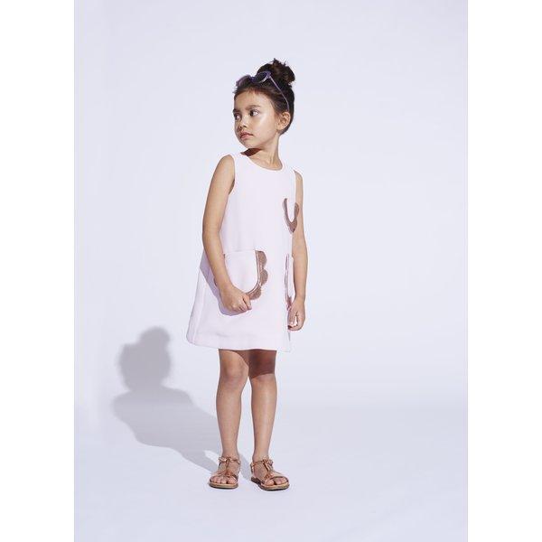 kids hucklebones petal pocket shift dress - lilac/rose gold