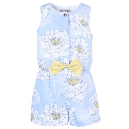 kids hucklebones playsuit - powder blue/daffodil
