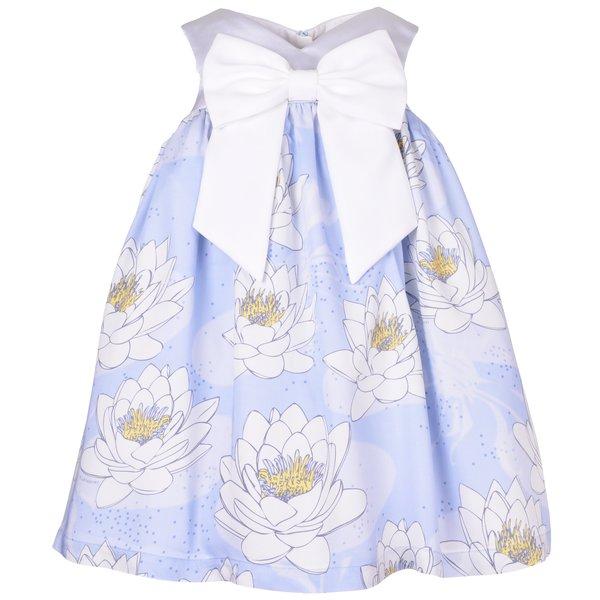 kids hucklebones sweetheart trapeze dress - powder blue/daffodil