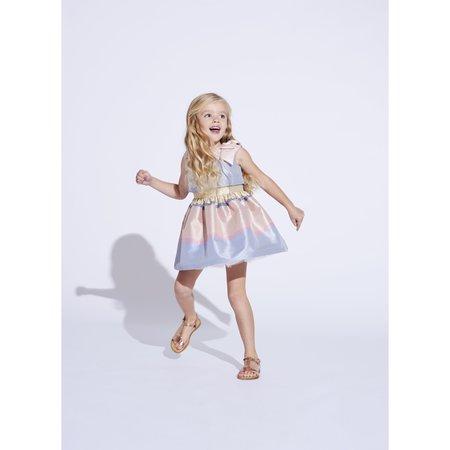 kids hucklebones tiered bodice dress - sherbet stripe