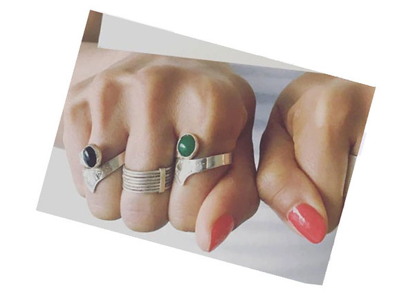 Tuareg Adjustable Ring - Green Agate Stone/Silver