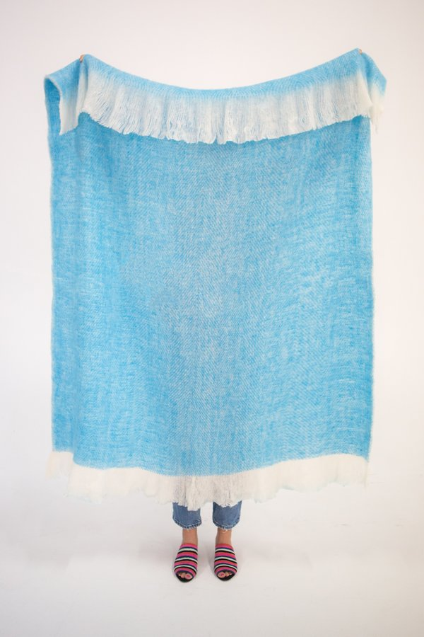 Archive New York Fuzzy Blanket - Turquoise Blue