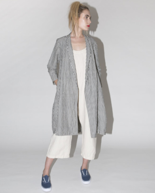 ALI GOLDEN NOTCH JACKET - STRIPED LINEN