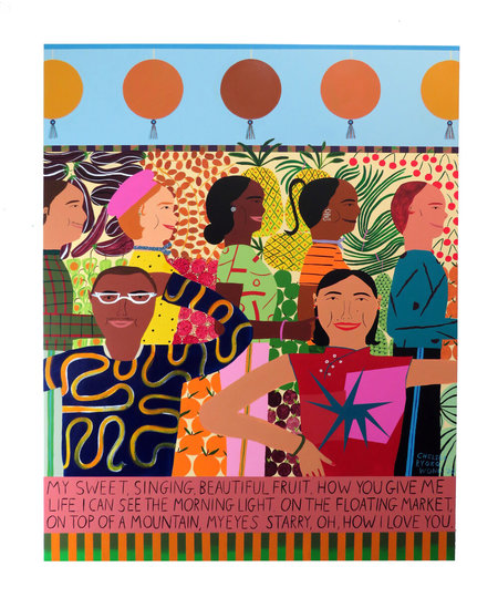 "Chelsea Wong ""At the Fruit Stand"" Wall Hanging"