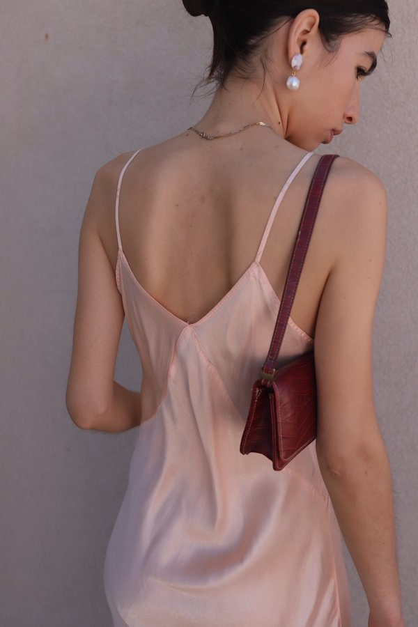 Vintage 1940s Rayon Slip Dress - Peach
