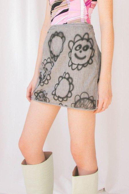 Alexa Stark Flower Houndstooth Wrap Skirt
