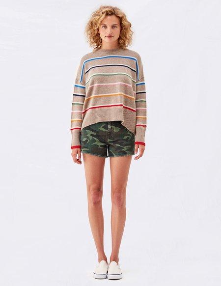Sundry Multi Stripe Oversized Sweater - Oatmeal