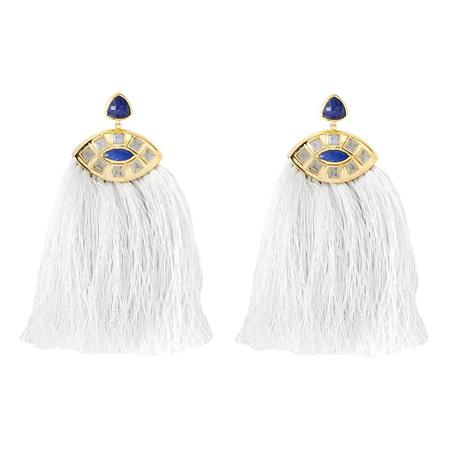 Margaret Elizabeth Zelda Moonstone and Lapis Earrings