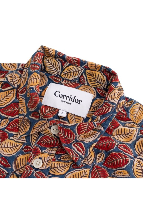 CORRIDOR Deep Handblock Leaf Short Sleeve Shirt - Ochre/Rust