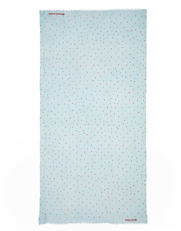 Faliero Sarti rectangular colorful polka dot scarf - pale blue