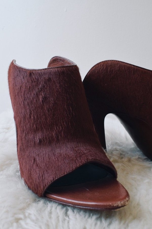 [pre-loved]  Alexander Wang Leather Heeled Mules - rust