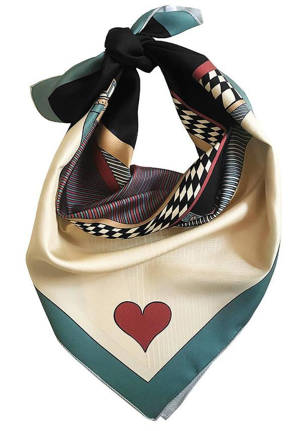 Annee Queen of Hearts Silk Scarf