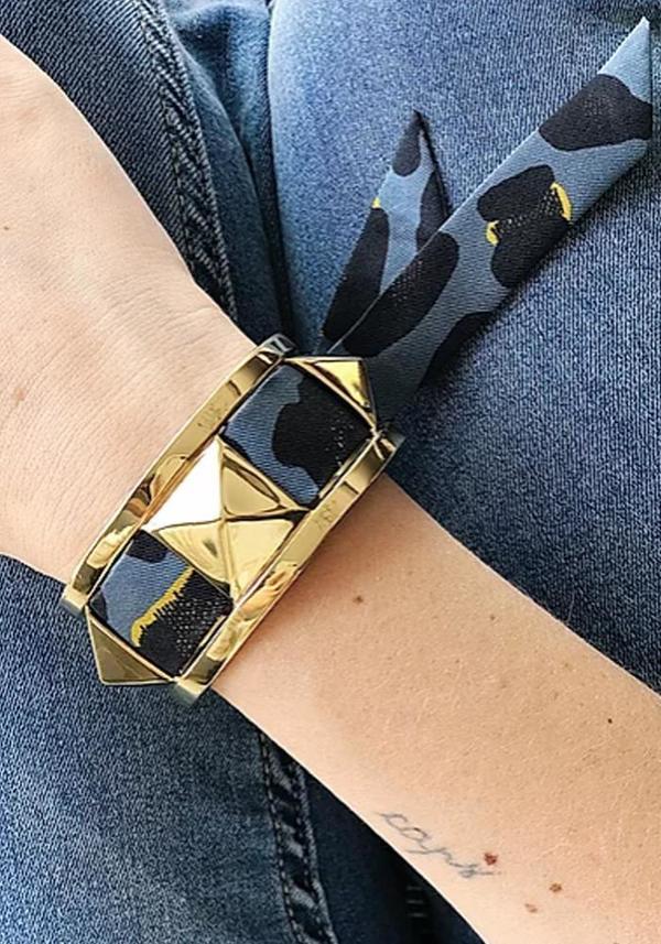 Annee Silk Scarf Studded Gold Cuff