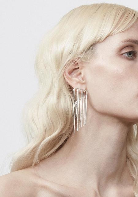 Annika Inez Fringed Curve Earrings - Sterling Silver