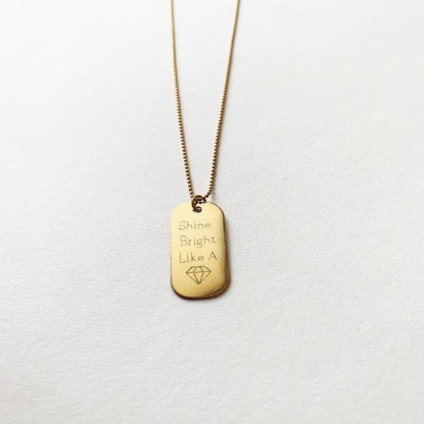 Bijoux B Dog Tags GF Necklace Shine Bright Like a Diamond - Gold filled