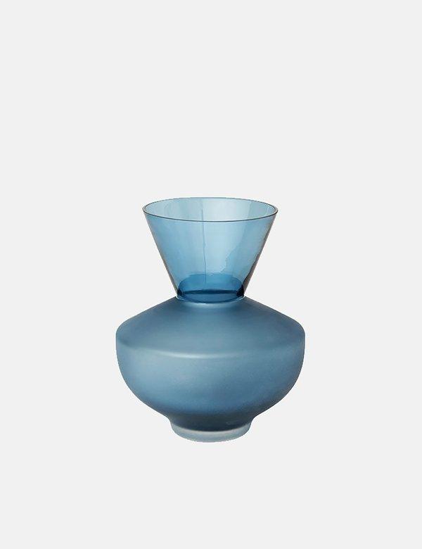 Broste Copenhagen Anton Glass Vase Small - Blue Mirage
