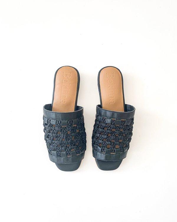 Beklina Crocheted Flat Sandal - Black