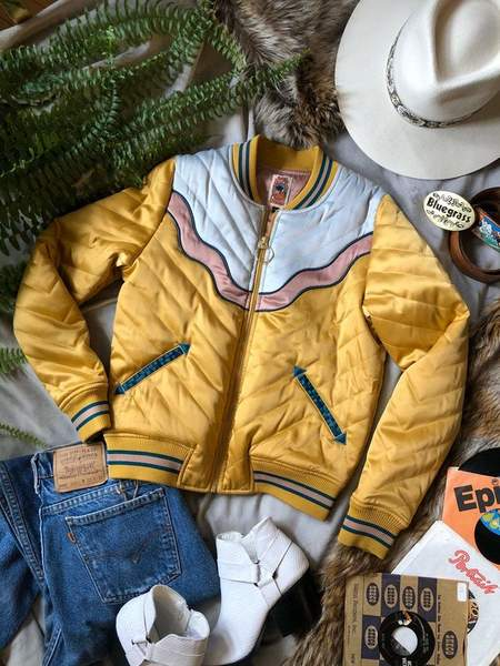 Classic Rock Couture Dolly Western Bomber Jacket - Mustard