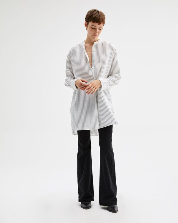 Nili Lotan Loria Tunic Shirt - white/black stripe