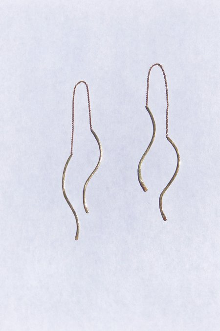 IL Design ILD Dune Wave Threader Earrings - 14K Gold