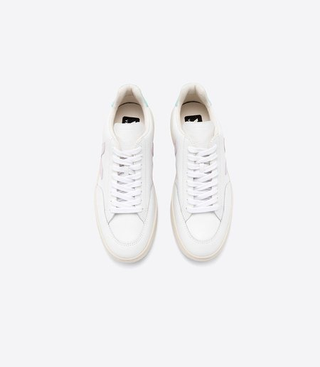 Veja V-12 Leather - Extra White Parme Turquoise