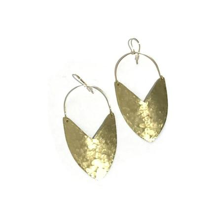 Enarmoured 'Goddess Shield Earrings' Large - Brass