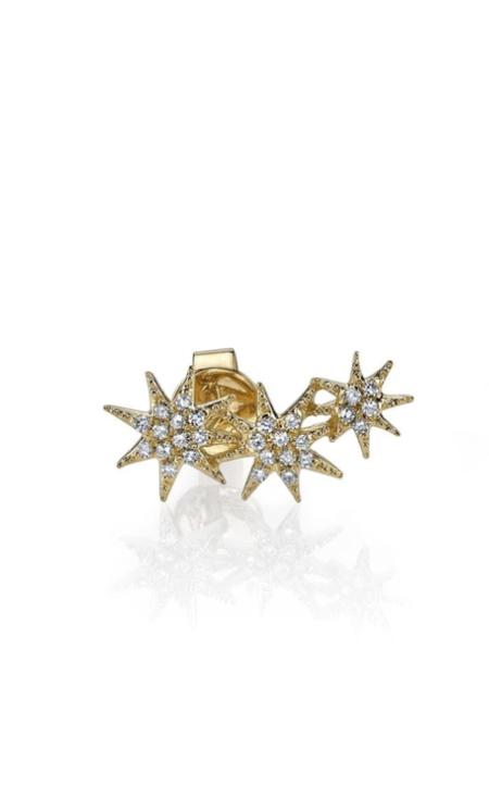 Gabriela Artigas Triple Star Pave Diamond Ear Crawler - 14K Yellow