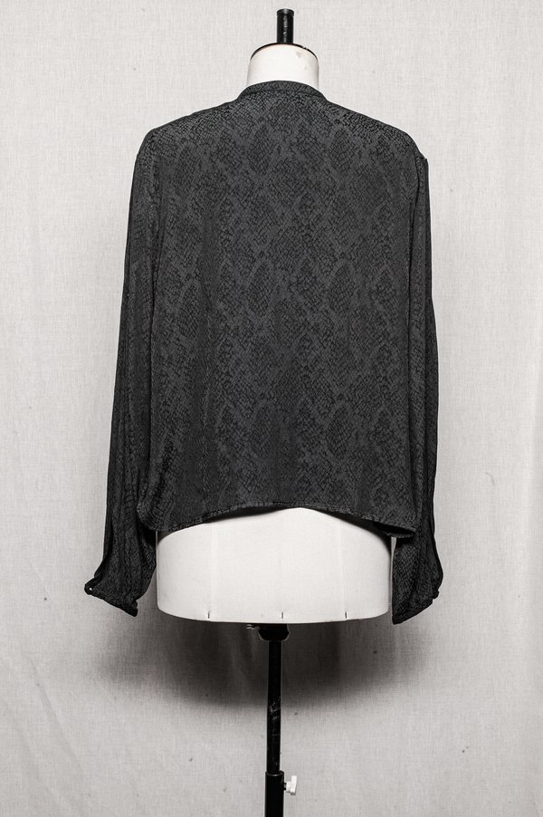 Berenik BLOUSE WITH LONG SLEEVES AND CONCEALED BUTTONS - black/grey
