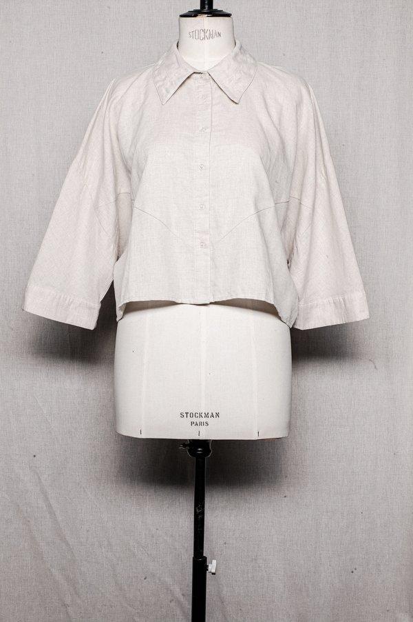 Berenik BLOUSE SHORT in linen - natural white