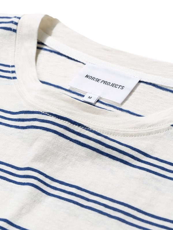 Norse Projects Johannes Stripe T Shirt - Twilight Blue