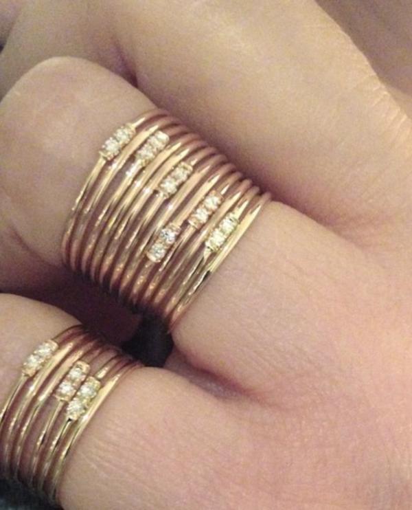 Hortense Circle Set of 2 Rings White Diamonds