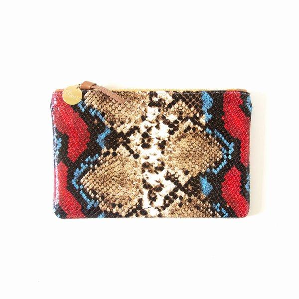 Clare V. Wallet Clutch - Garden Snake Red