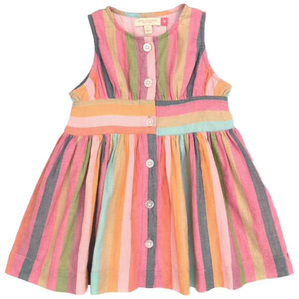 kids Pink Chicken Birdie Dress - Multi Stripe