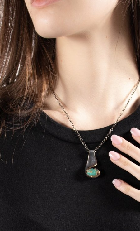 Bora Persian Turquoise Necklace - Brass/Sterling Silver