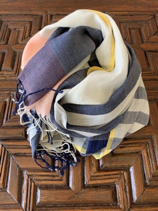 Aish Modernist Cotton Scarf - Navy/Grey