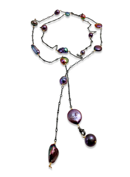 Delisch Peacock Pearl Lariat Necklace - Brass