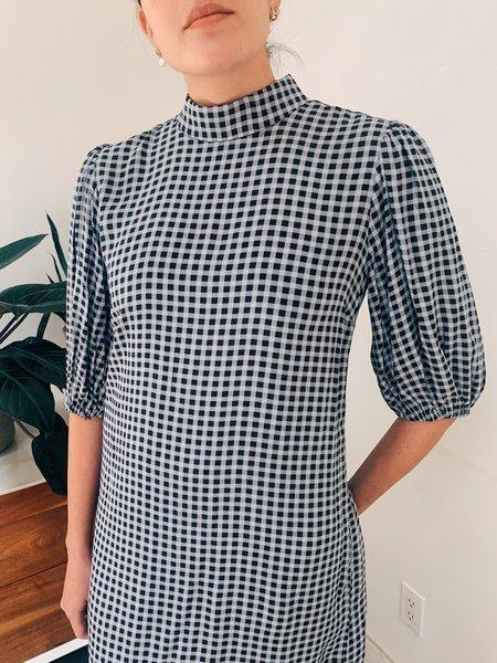 Ganni Printed Crepe Mini Dress - Blu