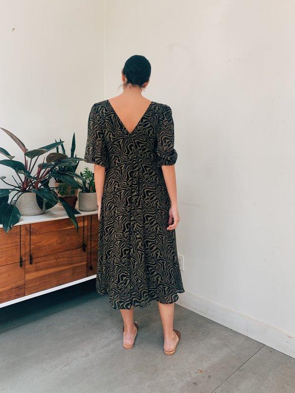 Ganni Printed Georgette Puff Sleeve Dress