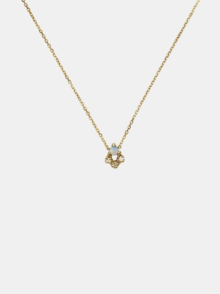 wwake opal and diamond posy necklace - 10k yellow gold