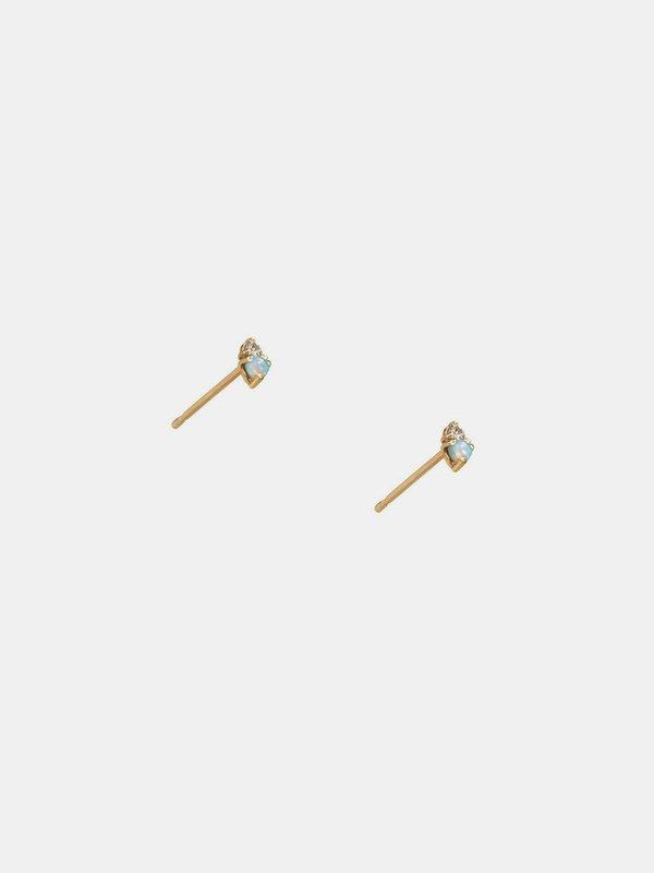 wwake opal and tanzanite two step earring - 14k yellow gold
