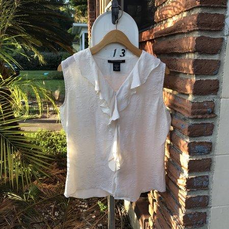 Horizons Vintage Ruffle Silk Top - White