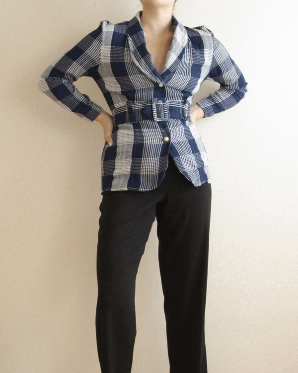 Vintage Check Lightweight Jacket - blue plaid