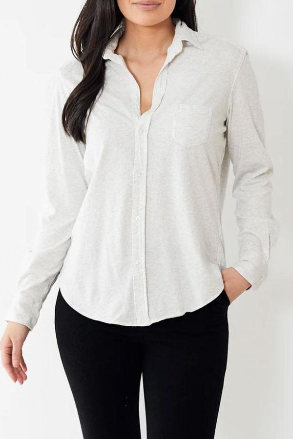 Tee Lab Button Down Shirt - Heather White Melange