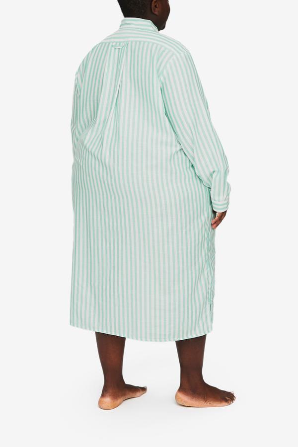 The Sleep Shirt Long Sleep Shirt - Green Stripe Twill PLUS