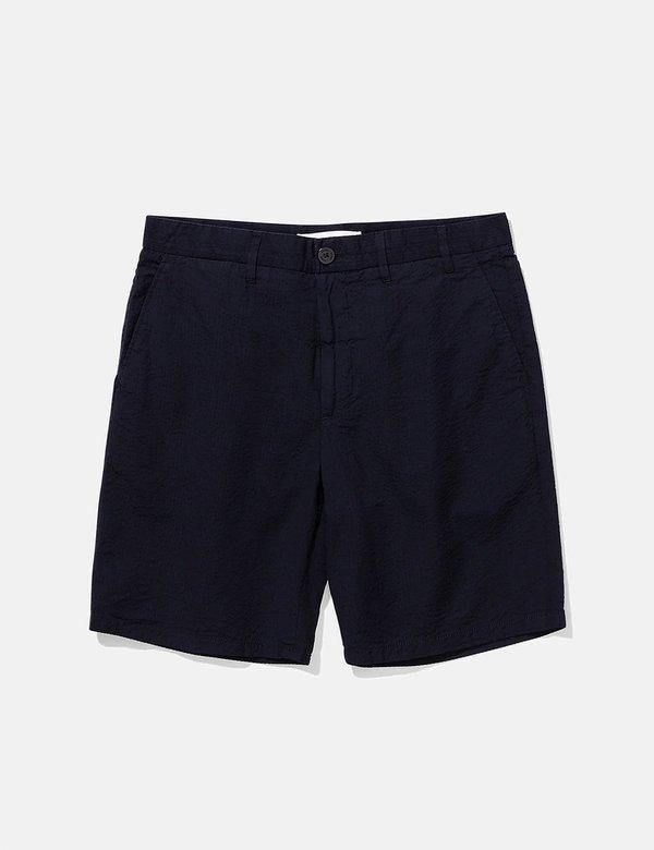 Norse Projects Aros Seersucker Shorts - Navy Blue