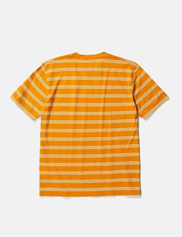 Norse Projects Johannes Cotton Linen Stripe T Shirt - Cadmium Orange