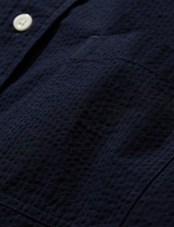 Norse Projects Thorsten Seersucker Shirt - Navy Blue